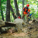 volunteers work on new Brush Mountain Trail system in Blacksburg, VA